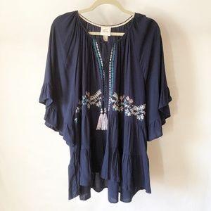 Knox Rose Blue Boho Shirt, Embroidery, Tassels